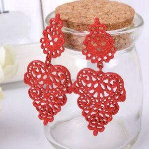 New, red Bohemia style dangle earrings